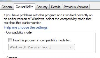 Windows Compatibility Mode